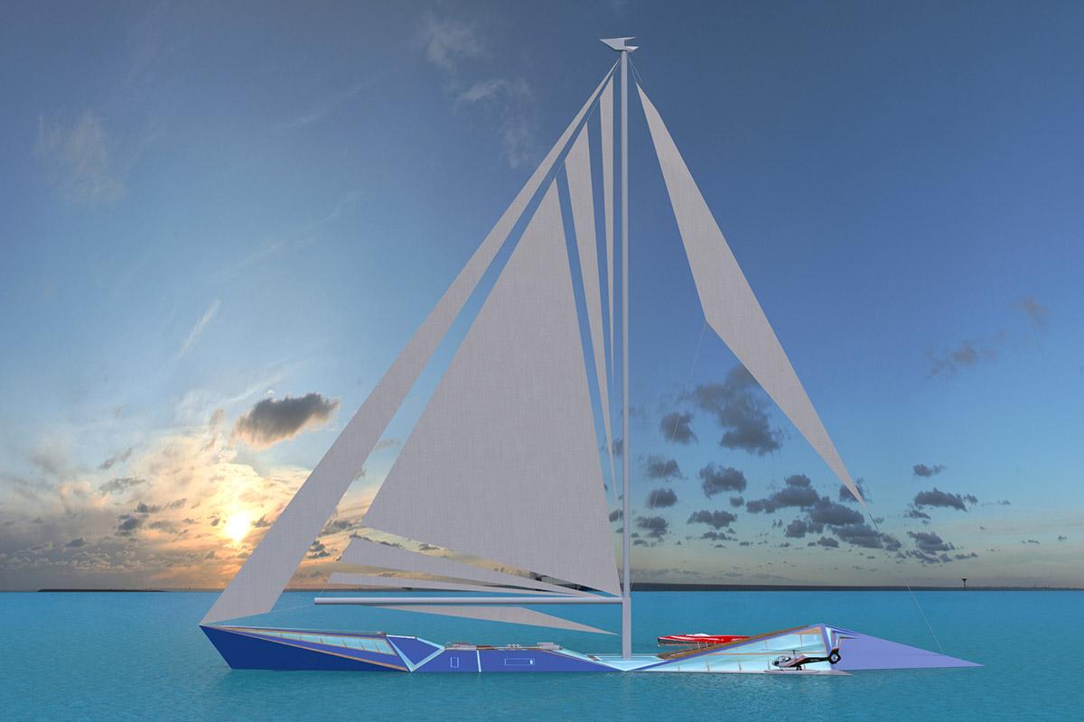 Designer-apresenta-veleiro-de-100m-Projeto-Origami-boatshopping