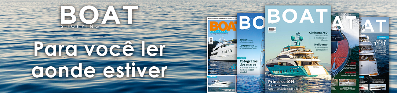 banner promocional com as capas da revista Boat Shopping