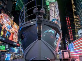 azimut s6 times square new york design week - boat shopping