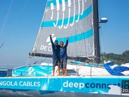 Leonardo Chicourel and Jose Guilherme Caldas of Team Angola Cables celebrate 5th place finish in Cape2Rio 2020 - boat shopping